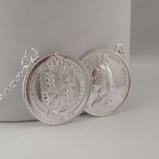 Rare Victorian Handmade Heavy Double Coin Necklace Sterling Silver Shilling dated 1887